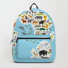 Cartoon animal world map for children and kids, Animals from all over the world Backpack