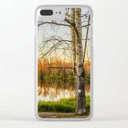Autumn lanscape with a birch Clear iPhone Case