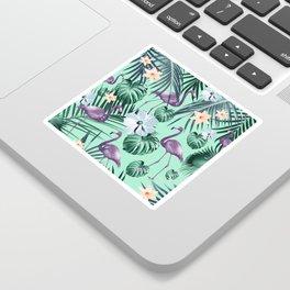 Tropical Flamingo Flower Jungle #5 #tropical #decor #art #society6 Sticker
