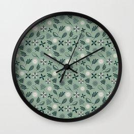 Cool greens pattern Wall Clock