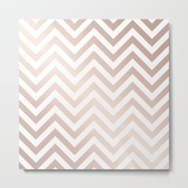 Chevron rose gold and white Metal Print