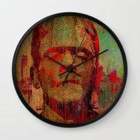 frankenstein Wall Clocks featuring frankenstein by Joe Ganech