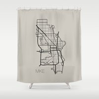milwaukee Shower Curtains featuring Milwaukee by linnydrez