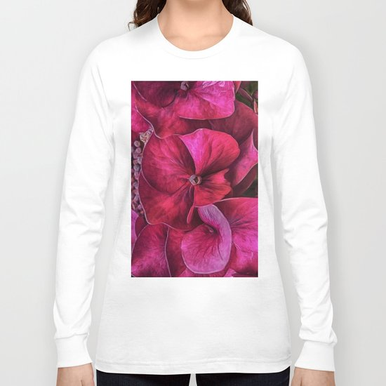 Hydrangea Red blooms Long Sleeve T-shirt