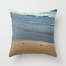 Two Sandpipers Wading Birds Seashore Throw Pillow