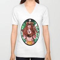 skyrim V-neck T-shirts featuring Skyrim Warrior by Jazmine Phillips