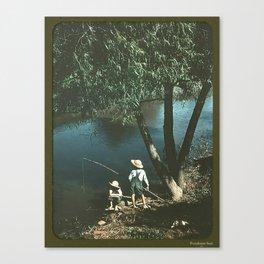"Vintage Rockwell-Like Photo ""Gone Fishing"" Canvas Print"