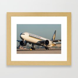 Singapore Triple Seven departing Manchester Airport Framed Art Print