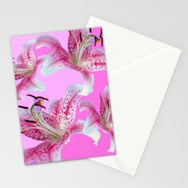 PURPLE & PINK ASIAN LILIES ART Stationery Cards
