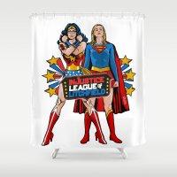 league Shower Curtains featuring InJustice League of Litchfield  by Vague