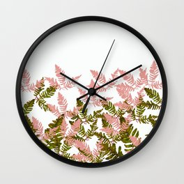 PALMS AND FERNS PINK AND GREEN Wall Clock