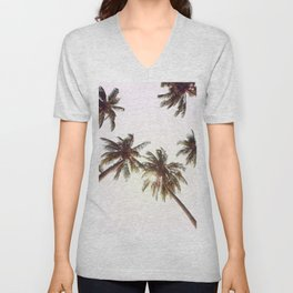 Palm Trees And Pink Sky Unisex V-Neck