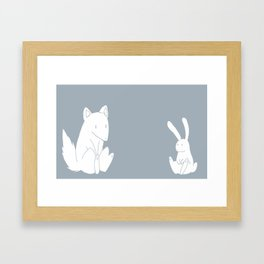 wolf and rabbit Framed Art Print