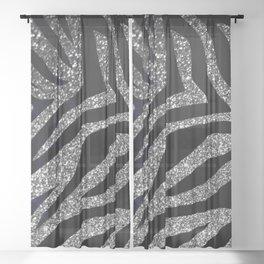 Silver Glitter Zebra Print Sheer Curtain