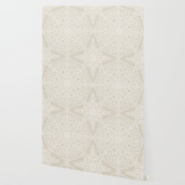 White Lace Mandala on Antique Ivory Linen Background Wallpaper