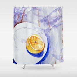 Lemon on a plate - Watercolors Shower Curtain