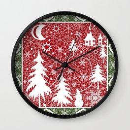 Winter. Christmas. Wall Clock