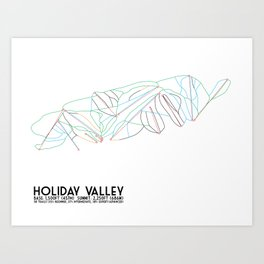 Holiday Valley, NY - Minimalist Trail Art Art Print