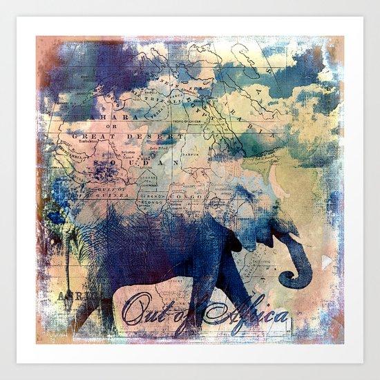 Elephants Journey Art Print