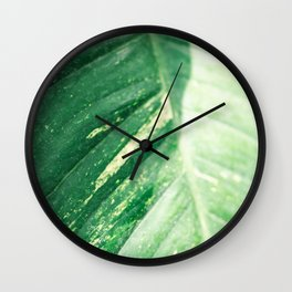 The green leaf | Botanical fine art photography print | Colorful pastel tones photo print Wall Clock