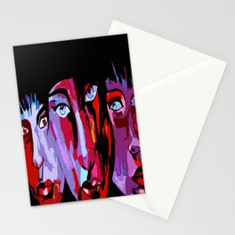 Colorful Japanese painted faces in abstract style Stationery Cards
