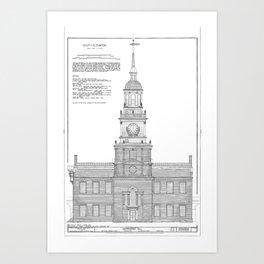 Independence Hall Blueprint Schematics Art Print