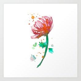 Warm Watercolour Fiordland Flower Art Print