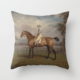 George Garrard - Portrait of a Racehorse, Possibly Disguise, the Property of the Duke of Hamilton, w Throw Pillow