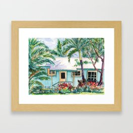 Tropical Vacation Cottage Framed Art Print