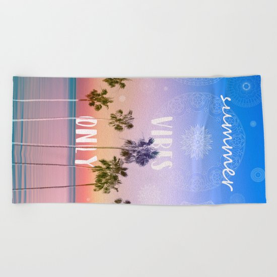 summer vibes only palm trees design Beach Towel