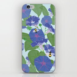 Glory Bee - Vintage Floral Morning Glories and Bumble Bees iPhone Skin