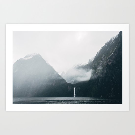 Milford Sound on a rainy day Art Print