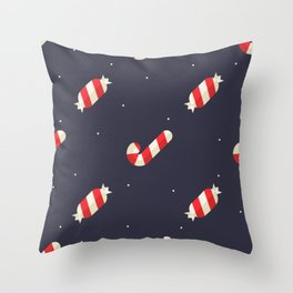 Red Christmas Peppermint Pattern Throw Pillow