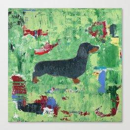 Dachshund Weiner Dog Painting Canvas Print