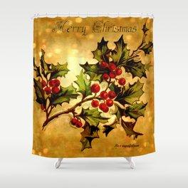 Christmas Holly, Vintage Botanical Illustration Collage Shower Curtain