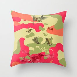 Charming Camo: Hummingbird Camouflage Throw Pillow