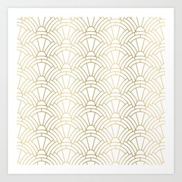 Gold and white geometric Art Deco pattern Kunstdrucke