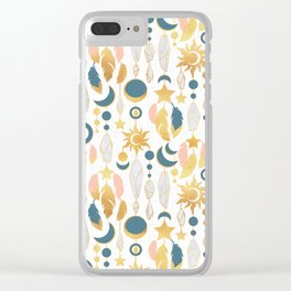 Bohemian spirit IV // white background salmon pink & gold feathers Clear iPhone Case
