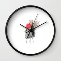 rooster Wall Clocks featuring Rooster by Imanol Buisan