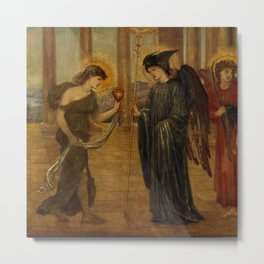 """Edward Burne-Jones """"Cupid and Psyche - Palace Green Murals - Psyche entering the Portals of Olympus"""" Metal Print"""