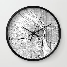 Portland Map White Wall Clock