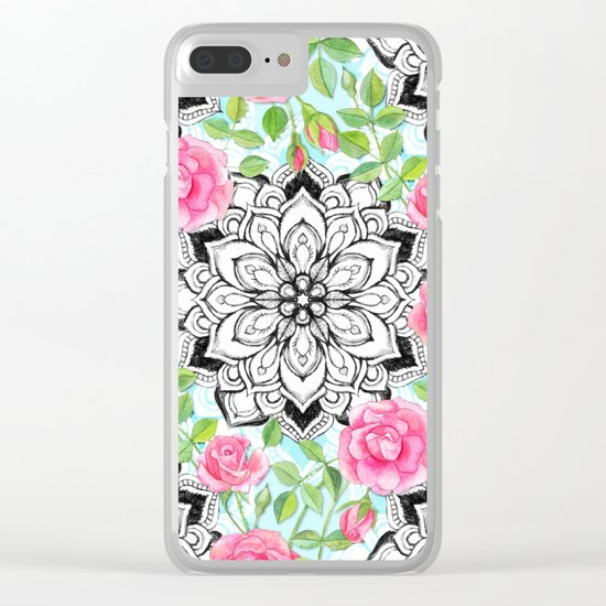 Pink Roses and Mandalas on Sky Blue Lace Clear iPhone Case