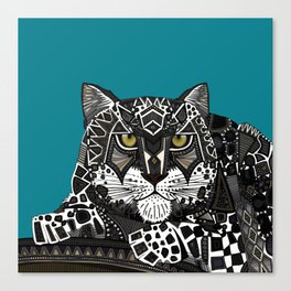 snow leopard teal Canvas Print