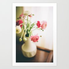 Pink and White Flowers in a Mid-Century Vase Art Print