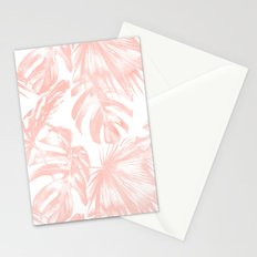 Pink Tropical Palm Leaves Stationery Cards