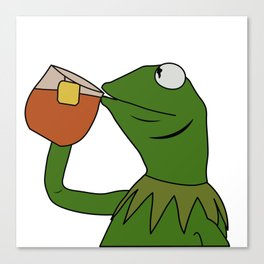 Kermit Inspired Meme King Sipping Tea Canvas Print