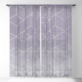Ultra Violet Purple Silver Geometric Block Cubes Modern Pattern Trendy White Marble Sheer Curtain