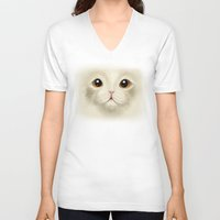 persian V-neck T-shirts featuring Persian kitty by nuxidraws