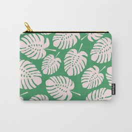 Monstera, Leaves, Plant, Tropical, Green, Minimal, Pattern, Modern art Carry-All Pouch