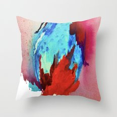 Ice and Fire: a vibrant, colorful, mixed media piece in pinks, blues, and red Throw Pillow